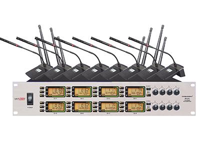 """森海動力 MK-902   """"1.內置2*3編組疊機頻率,一鍵調取,同一頻段可同時輕松疊機2套使用。 2.具有IR紅外線自動對頻功能,一鍵自動對頻鎖定。 3.八通道音量獨立可調,提供8+1音頻輸出,八通道各音頻音量輸出獨立可控。 4.提供多種發射器可選,發射器中會議/手持/領夾可以混搭使用,互不干憂。 5.背光式LCD顯示屏指示了RF和AF信號強度,頻率,頻率組/頻道等工作狀態。 6.采用8通道相同的工作頻率,使得發射器之間可以隨時互換"""""""