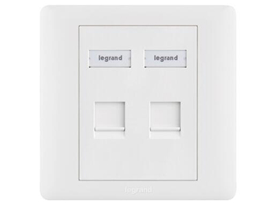 TCL罗格朗网络模块面板 单口双口网线电话电脑语音插座 双口电话电脑面板(不含模块)632805