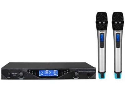 无线会议话筒  PLL双通道锁相还路设计,200频点PLL数字锁定自动选频功能;强效的接收信号侦测识别功能,高品质抗干扰电路设计;内建式静音及音码锁定回路可抑制干扰;抗干扰之功能设计,;流线型外观设计,简单明了的人性化操作功能选择界面;超高动态双压缩分流技术,将低频自动分流加载,展现最佳动态性能