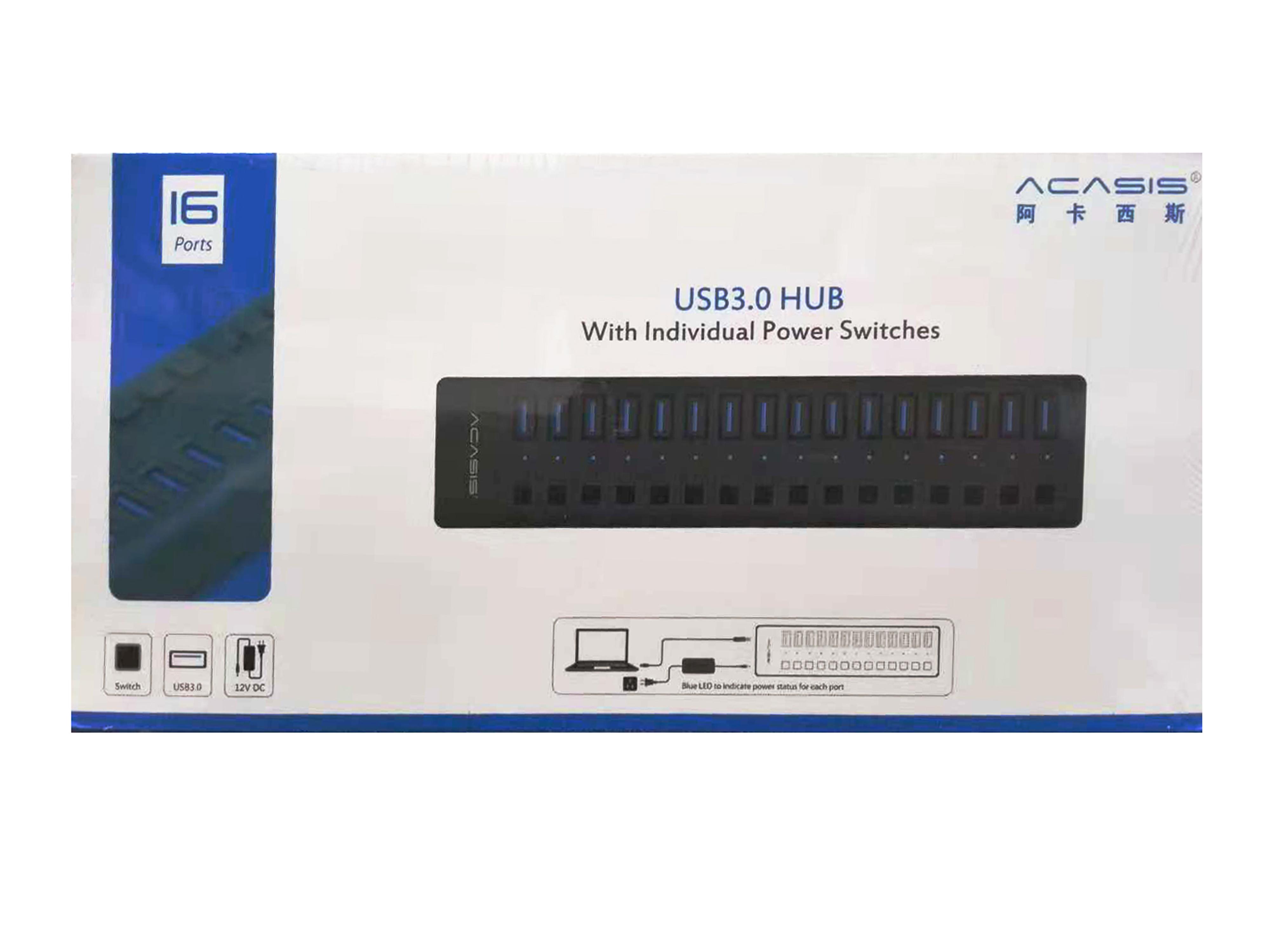阿卡西斯USB3.0 HUB(16口)USB 3.0 HUB 16口 带电源 独立开关 金属灰色外壳 100CM线长