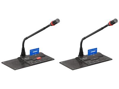 """HT-7100c、HT-7100d-列席單元(嵌入式)  """"嵌入式安裝,可拔插咪管 采用全新數控化設計 具有麥克風具有發言鍵與指示燈,可控制/指示本機狀態 單指向性,具防氣爆音功能,配有防風防護罩 可繞式電容麥克風桿,并具有發言指示光環 麥克風靈敏度高 單元由系統主機供電,輸入電壓24V屬安全范圍 單元采用8芯線""""T""""型連接 具有兩組3.5mm立體聲輸出插座,可做錄音及連接耳機用 內置高保真揚聲器,并具有音量調節(當麥克風開啟時喇叭自動靜音) 具有表決/選舉/評議功能 實時簽到功能:動態顯示簽到和表決結果  HT-XXXXSc/HT-"""
