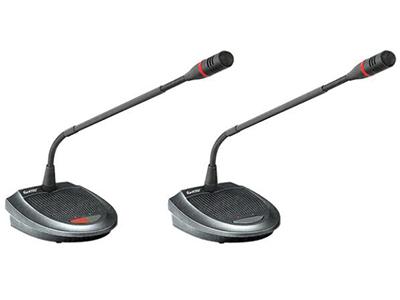 """HT-7500c、HT-7500d-列席單元  """"采用全新數控化設計 具有麥克風具有發言鍵與指示燈,可控制/指示本機狀態 單指向性,具防氣爆音功能,配有防風防護罩 具主席優先控制按鍵,可啟動系統提示音提醒出席人員注意,可設永久終止或暫停終止所有發言代表麥克風的發言狀態 系統中主席單元數量不受限制,并可置于回路中任意位置 系統中主席單元不受限制功能的限制 可繞式電容麥克風桿,并具有發言指示光環 麥克風靈敏度高 單元由系統主機供電,輸入電壓24V屬安全范圍 單元采用8芯線""""T""""型連接 具有兩組3.5mm立體聲輸出插座,可做錄音及連接"""