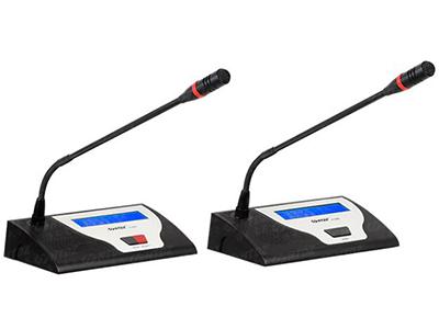 "HT-8300c HT-8300d-列席單元  ""◆ 抗電磁、手機干擾功能;  ◆ 有發言鍵與指示燈,可控制/指示本機狀態;  ◆ 單指向性,具防氣爆音功能,配有防風防護罩;  ◆ 可繞式電容麥克風桿,并具有發言指示光環;  ◆ 由系統主機供電,輸入電壓24V全范圍;  ◆ 單元采用8芯線""T""型連接;  ◆ 兩組3.5mm立體聲輸出插座,可做錄音及連接耳機用;  ◆ 內置高保真揚聲器,并有音量調節(當麥克風開啟時喇叭自動靜音);  ◆ 符合國際會議設備電器認證標準(IEC 60914)及國際安規標準UL或CE認證。"""