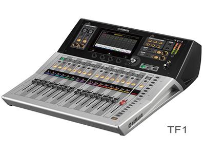 """雅马哈 TF1 数字调音台 """"17个马达推子(16通道+1主控) 40条输入混音通道(32单声道+2立体声+2返送通道) 20个AUX(8单声道+6立体声)+立体声+子母线 8个带有Roll-out的DCA编组 16个模拟XLR/TRS混合麦克风/线路输入+2个模拟RCA立体声线路输入 16个模拟XLR输出 34×34 USB数字录音/回放 + 2×2 录音/回放通过USB存储设备 1个支持NY64-D音频介面卡的扩展槽"""""""