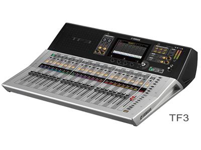 """雅马哈 TF3    数字调音台 """"25个马达推子(24通道+1主控) 48条输入混音通道(40单声道+2立体声+2返送通道) 20个AUX(8单声道+6立体声)+立体声+子母线 8个带有Roll-out的DCA编组 24个模拟XLR/TRS混合麦克风/线路输入+2个模拟RCA立体声线路输入 16个模拟XLR输出 34×34 USB数字录音/回放 + 2×2 录音/回放通过USB存储设备 1个支持NY64-D音频介面卡的扩展槽"""""""