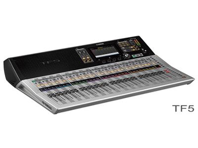 """雅马哈 TF5   数字调音台 """"33个马达推子(32通道+1主控) 48条输入混音通道(40单声道+2立体声+2返送通道) 20个AUX(8单声道+6立体声)+立体声+子母线 8个带有Roll-out的DCA编组 32个模拟XLR/TRS混合麦克风/线路输入+2个模拟RCA立体声线路输入 16个模拟XLR输出 34×34 USB2.0数字录音/回放 + 2×2 录音/回放通过USB存储设备 1个支持NY64-D音频介面卡的扩展槽"""""""
