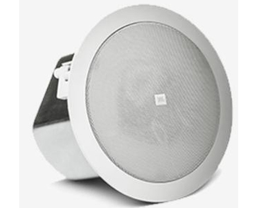 "JBL Control16C/T 吸顶扬声器 ""定阻功率: 100 W-50 W 定压功率:30W、15W、 7.5W@70V或100V(和3.8W@70V)额定阻抗: 8欧姆 发声单元: 6.5 英寸低音单元和 3/4 英寸的软球顶高音单元 尺寸: 253mm 直 径 x225mm 深 天花板开孔尺: 圆形开孔直径为 223mm"""