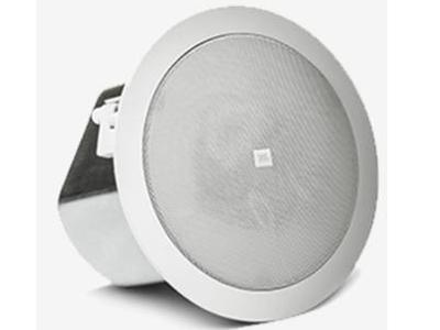 "JBL Control 18C/T 吸顶扬声器 ""定阻功率:180W-90W 定压功率:60W、30W、 15W@70V或100V(7.5W@70V) 额定阻抗:8欧姆(直接/旁路8Ω设定)发声单元:8英寸低音单元和1英寸高音单元 尺寸:307mm直径x274mm深 天花板开孔尺: 圆形开孔直径为 282mm"""