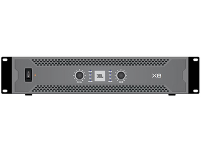 "JBL X8 功率放大器 -模拟 ""8Ω立体声输出功率:800Wx2 ;频率响应: 20- 20kHz 净量:16.5kg; 体积:483mmx378mmx89mm"""
