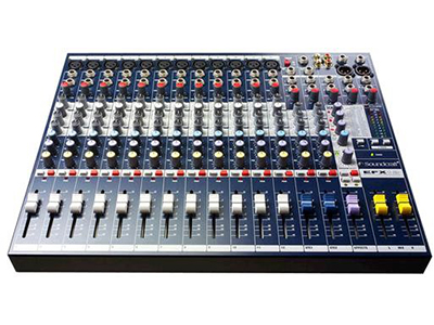 Soundcraft EFX12 12路模拟调音台 12MIC、LINE输入 内置莱斯康 24 比特效果器 观察信号电平的 LED 精密的GB30话筒前置放大器 外置效果处理的插入点AUX发送全部可切换到推子前或推子后 FX发送 内置世界通用供电电源