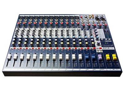 Soundcraft EFX8 8路模拟调音台 8MIC、LINE输入 内置莱斯康 24 比特效果器 观察信号电平的 LED 精密的GB30话筒前置放大器 外置效果处理的插入点AUX发送全部可切换到推子前或推子后 FX发送 内置世界通用供电电源