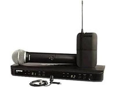 """舒尔 BLX1288CVL 无线麦克风 -单手持 +单领夹 """"BLX1腰包式发射机:用于舒尔领夹式、头戴式、耳戴式、乐器话筒和吉他线缆的TQG连接 触式开关 26dB可调增益范围 BLX4单通道无线接收机:一键式QuickScan频率选择每个频带多达12个兼容系统 微处理器控制的内部 天线分集 双色音频状态LED指示灯"""""""