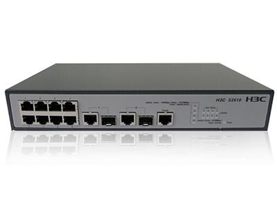 郑州聚豪 河南总代理 华三(H3C)SMB-S2610 8口百兆网管交换机8FE+2SFPCOMBO;百兆三层交换机,(240V AC、整机功耗≤ 8W、机架式)、包转发率4.2Mpps、交换容量32Gbps  客户热线:柴经理 13253534321