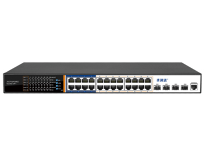 丰润达 S5700-24GP-4F 24口千兆三层管理型POE交换机 强大业务管理能力:支持VLAN、汇聚、Q0S、ACL、IGMP、端口监控、三层路由器、DHCP等丰富业务功能,能满足中小企业、酒店及园区网络接入、汇聚应用场景 全千兆接入:配备24个下联千兆端口,4路上行千兆SFP插槽, 保证所有端口均可实现千兆无阻塞线速转发,传输更流畅。光口上行组网更灵活 HI POE:支持支持HI POE单口输出最大功率46W ,能兼容标准IEEE802.3af/at,整机电源功率440W 4种AI模式:支持4种快捷工作模式:AI VLAN、AI Extend,AI PoE,