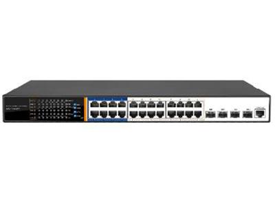 丰润达 S5700-24GP-4TF 万兆上联24口千兆三层管理型POE交换机 万兆上联、全千兆接入,配备24个下联千兆端口,4*10GE SFP+端口, 保证所有端口均可实现无阻塞线速转发,传输更流畅 强大业务管理能力:支持VLAN、汇聚、Q0S、ACL、IGMP、端口监控、三层路由器、DHCP等丰富业务功能,能满足中小企业、酒店及园区网络接入、汇聚应用场景 HI POE:支持HI POE单口输出最大功率46W ,能兼容标准IEEE802.3af/at,整机电源功率440W 4种AI模式:支持4种快捷工作模式:AI VLAN、AI Extend,AI PoE,AI QOS