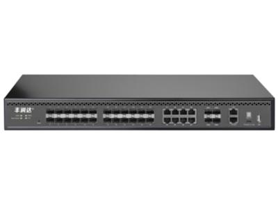 丰润达 S5700-24F-8G-4TF 万兆上联24口全光三层管理型交换机  多业务端口选择:支持16个千兆SFP口,8个千兆combo(8*GE RJ45+8*GE SFP),4个万兆SFP+端口 强大三层处理能力:支持RIPv1/v2/ng,OSPF/ v2/v3,静态路由器,DHCP服务器,IGMPv1/v2/v3,MLD, 完善的二层功能:支持VLAN、汇聚、Q0S、ACL、IGMP、端口监控、DHCP等丰富业务功能,能满足中小企业、酒店及园区网络接入、汇聚应用场景 双电源冗余:双电源冗余备份,工作异常无缝切换。