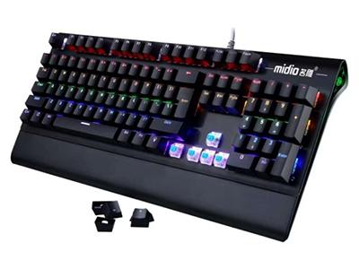 名雕 RX-906  铝合金面板  彩虹背光  全键插拔轴机械键盘