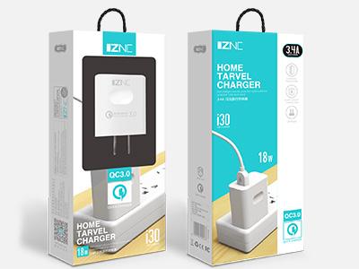 智能冲 i30 QC3.0快充充电器 3.4A大电流,极速闪充,闪充同时不伤机 18W大功率,充电不等待 适用VIVO,三星,华为,小米等快充品牌手机