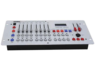 YG-DISCO 240控台  可控制12/24台16通道电脑灯; 可存储场景12个/24个,程序12个;程序最大步数为20/40步,程序总240/480步。 总通道为240个调光通道为48个,可分控,点控,集控; LCD液晶显示屏,16x2字符