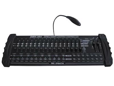 YG-DMX 384A/B控台  DMX512/1990信号输出;384个控制通道; 有30个BANKS,每个BANK有8个可编程的SCENES;有16个可调位器调节输出大小; 重新通电可运行上一次的Chase或Bank;内置MIC头,提供声音触发; 在自动触发状态,通过TAPSYNC键或SPEED电位器确定自动触发时间; 在MIDI接口,可随时用MIDI信号控制;4位数码显示屏