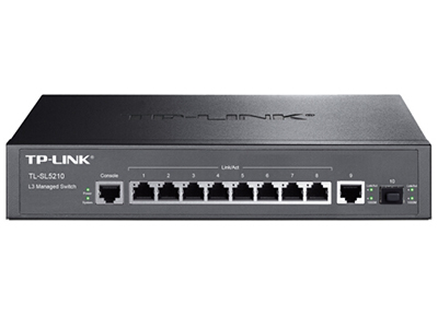 TP-LINK  TL-SL5210  千兆上联三层网管 8个百兆口+1个独立千兆RJ45端口+1个独立千兆SFP光纤模块