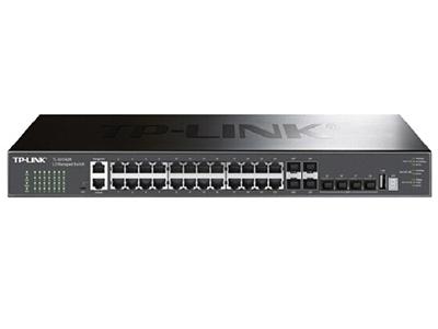 TP-LINK  TL-SH7428  三层万兆 24个千兆口+4个复用千兆SFP端口+4个万兆SFP+端口,堆叠式三层网管交换机,支持八个堆叠单元。