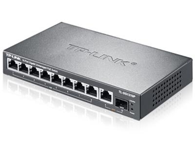 TP-LINK  TL-SG1210P  POE供电交换机 8个千兆PoE口+1千兆+1SFP/单口功率30W/整机54W