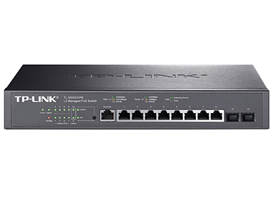 TP-LINK  TL-SG5210PE  POE供电交换机 8个千兆PoE口+2SFP/单口功率30W/整机116W,三层网管,支持静态路由等三层功能