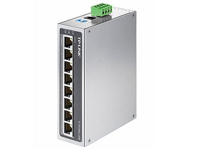TP-LINK  TL-SF1008工业级 '8口百兆,-40-75℃宽温工作,无惧极端温度;9.6-60VDC三冗余电源输入,多重保护,长时间工作更稳定;铝合金机身,坚固耐用,高效散热,IP30防护,减少粉尘影响,提供VLAN、广播风暴抑制开关, 多种安装方式:导轨式安装+壁挂安装