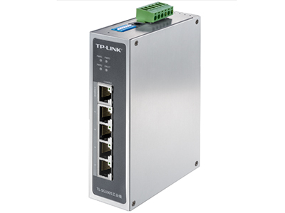 TP-LINK  TL-SG1005工业级 '5口千兆,-40-75℃宽温工作,无惧极端温度;9.6-60VDC三冗余电源输入,多重保护,长时间工作更稳定;铝合金机身,坚固耐用,高效散热,IP30防护,减少粉尘影响,提供Web管理、VLAN、广播风暴抑制开关, 多种安装方式:导轨式安装+壁挂安装