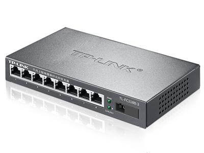 TP-LINK TL-FC218B-20 单模单纤光纤收发器 单模单纤、一个千兆光口+八个百兆电口,20KM,1光8电,SC接口(蓝色大方口)