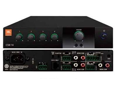 CSM14  為音響安裝應用而設計和制造的一款專業混音器。單通道帶4路音頻輸入,每路輸入的增益可獨立控制。此混音器包含一套安裝到機柜的安裝支架組件。配合JBL Commercial系列產品即可輕松為系統擴展。還可使用JBL CSR-V系列控制器實現遠程音量控制。