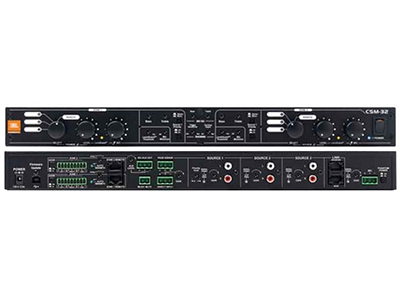 CSM32  提供固定I/O、預先配置的架構、完全立體聲或單聲道操作、靈活路由和控制多個音頻源、簡單的前面板配置和控制(無需使用計算機)、兼容CSR壁式控制盒、兼容CSPM尋呼麥克風,以及通過CAT5電纜將音頻聲道復制至另一個同系列設備(可選)。CSM-32具有三個立體聲音樂輸入(帶有增益控制和削波LED指示燈)和兩個立體聲輸出( 帶有源分頻器和專用低音輸出)。