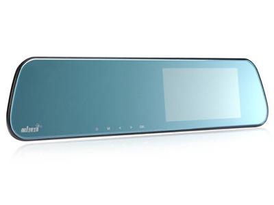 第1现场 D-186 2.5D弧面玻璃超薄后视镜行车记录仪  金属机身IPS触摸屏幕前后双录