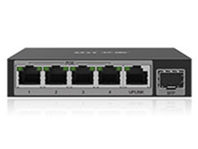 艾泰  S106GP  POE供电交换机 5个100/1000M RJ-45   1个SFP口(非复用)  1-4 RJ-45口支持PoE供电   符合IEEE 802.af/at PoE