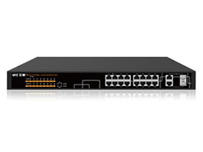 艾泰   S1018P POE供电交换机 16个10/100M自适应RJ-45端口  2个10/100M/1000M自适应RJ-45端口(与光口复用,不供电)  2个1000M SFP光口  最多支持16端口802.3af 15.4W标准或最多8端口802.3at 30W标准  内置工业级电源,电源更可靠 智能供电系统,系统过载保护 即插即用,打破传统电力线布局限制