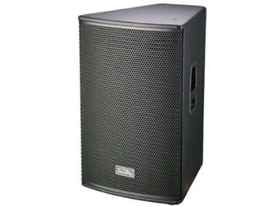"""音王  15"""" 两分频无源音箱   """"类型   15"""""""" 两分频无源音箱  频率响应 45Hz—20kHz(-10dB)   灵敏度(1W@1m)  96dB  额定阻抗  8Ω     额定功率  250W( 连续), 1000W (峰值)   分频点  2.0kHz     低音单元  10"""""""" 低音/50mm 音圈  高音单元  34芯压缩驱动器/1寸喉口  覆盖角(水平x垂直)  80°x60°  最大声压级(@1m)  123dB   输入方式  2×SPEAKON+2×JACK    箱体尺寸(WxHxD"""