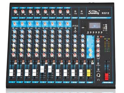 """音王  KG10  调音台 """"输入  10  Mic 输入通道  6  立体声输入通道  2  增益  MIN - MAX  麦克风  +6dB - +50dB  线路  +10dB - -34dB  等效输入噪声  -100dB  频响        麦克风通道  10Hz - 20kHz +1/-3  MIC通道总谐波失真  ≤0.03\%   信噪比  80dB    输出电平  MAX +27(BAL)    MAX +22(UNBAL)  通道EQ        高  12kHz  中  2"""