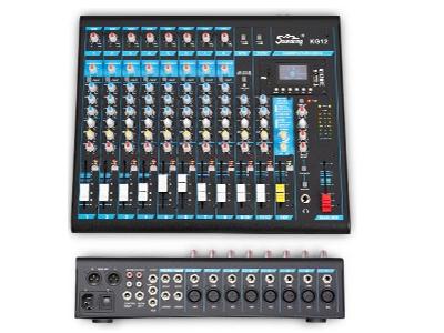 """音王  KG12  调音台 """"输入  12 Mic 输入通道  8 立体声输入通道  2  增益  MIN - MAX  麦克风  +6dB - +50dB  线路  +10dB - -34dB  等效输入噪声  -100dB  频响        麦克风通道  10Hz - 20kHz +1/-3  MIC通道总谐波失真  ≤0.03\%   信噪比  80dB    输出电平  MAX +27(BAL)    MAX +22(UNBAL)  通道EQ        高  12kHz  中  2.5"""
