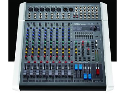 """音王  MIX08C   调音台 """"筒输入  6    立体声输入  4     辅助  4     效果器  100种   单声道  1     立体左右输出  2    编组左右输出  4     增益  70dB(Mic 主输出)   单声道均衡器:±15dB  高: 12kHz, 中:800-8kHz(可选), 低:80Hz   立体声通道均衡器:±15dB  高: 12kHz, 中高:3kHz, 中低:500Hz, 低:  80Hz   频率响应  (20-20kHz)±1dB   等效底噪  -127("""
