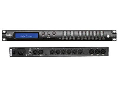 """音王  DP48  音频处理器 """"模拟输入 4 x XLR 平衡式  模拟输出 8 x XLR 平衡式  最小负载 150 ohm  THD+N 失真 0.001\% at 1kHz 0dBu  S/N信噪比 106dBA   频响 20Hz – 22kHz; -0.5dBu at 20Hz and 22kHz  AD & DA 转换 CS42528 32 bit -96kHz  DSP 处理  MARANI M716,24x32位滤波处理,96位精度中间数据运算结果  参数均衡器  输入上带有33个滤波器 / 输"""