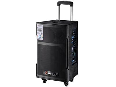 """山水  SG3-15  电瓶箱 """"15寸喇叭、80磁高音 电池:20Ah 功能:云音乐,蓝牙、语音、录音、话筒优先、外接12V,带咪架,带遥控 无线咪:W-228B玫瑰金 功率:200W"""""""