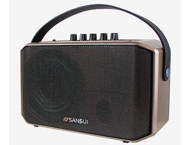 """山水  SA1-05  手提箱 """"5寸全频低音 电池:7.4V/3AH 单手咪 功能:蓝牙、语音、录音、话筒优先,带遥控,音乐高音低音调节,话筒混响调节 电源适配器:15V/3A 功率:40W """""""
