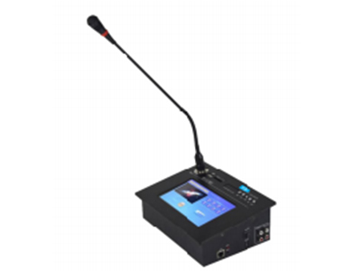 "FiFi   H-9012  7寸触摸屏话筒 ""功能特点: ■话筒自带USB、SD卡接口、FM收音功能、蓝牙功能,一路线路输入输出。 ■话筒自身携带音量调节功能,一键静音功能, ■面板带7寸TFT真彩色液晶屏,分辨率800*480,画面大小154*86mm,自动背光关闭,触摸自动控制、8个数字/分区快捷按键,一键选择寻呼。 ■桌面外型式设计专业寻呼话筒,黑色氧化铝拉丝面板,黑色电镀按钮搭配,工艺考究,现代感十足,精致美观。 ■采用高灵敏度优质咪芯,平衡输入、音质清晰、无噪声。 ■人性化人机操作界面:可随接在话筒上,无需软件上配置,呼叫任"