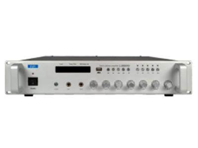 """FiFi  L-2060AU  带USB+蓝牙+分区合并式功放机 """"功能特点: ■具有显示屏,显示温度与增益更直观检测功放运行状态 ■防空警报触发开关。 ■2通道麦克风输入,2通道Line线路输入,自带一通道MP3播放器,带1路线路输出。 ■麦克风1具有优先功能,深度通过电位器可调节。 ■4升调+4降调提示音按键。 ■每一路输入音量有单独调节按钮和高音、低音音量调节按钮。 ■设备具有良好的短路、过载、过热等自我保护,散热风机温控启动及关闭,功放温度实时监控,温控增益智能调节,高温下增益自动下调,温度越高下调力度越大,使整机工作更加稳定。 ■2种功率输出"""