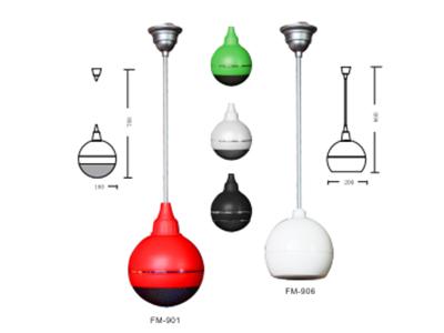 "FiFi  FM-901  球形扬声器 ""功能特点: FM球形扬声器,ABS外形时尚美观,内置100V音频变压器 全方位发生设计,能360度均匀输出声音,独特简约的设计非常适合现代居所。 这款喇叭声音传播能力优异,频响平稳,发声均匀,适用于复杂的声学环境,天花板较高的场所使用这款喇叭效果尤佳。 系统参数 额定功率:10W 额定电压:110V 频率响应:90Hz-16KHz 喇叭单元;5寸同轴高音喇叭 灵敏度:91dB(1W/1M) 外形尺寸:φ180 颜色 :白色,红色,黑色"""