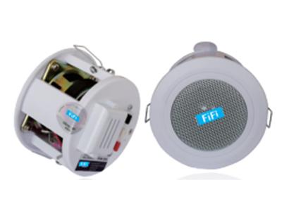 """FiFi  FC-3  吸顶扬声器 """" 功能特点: ABS塑料吸顶扬声器,内置110V音频变压器 FC-3是一款2.5英寸带塑料后筒高品质吸顶扬声器。本款扬声器功率为6W,外形小巧,音质清晰。 它主要用于天花较矮的公共场所,安装美观大方。特别适用于广播扬声和背景音乐。内置同轴喇叭以提升音质. 设备参数 额定功率:6W/3W 额定电压:110V 频率响应;70Hz-16KHz 灵敏度:98dB 外形尺寸:φ102mm 开孔尺寸:φ90mm 颜色:白色 材质:ABS外壳,铁制网面"""""""