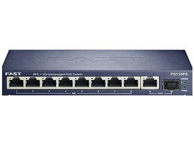 迅捷 FS110PS  POE供电交换机 总65W/单口30W  千兆上联 8百兆POE口+1千兆上联口+1光口