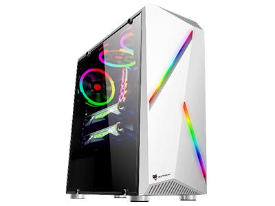 竹光白  面板自带2条RGB灯条,侧板钢化玻璃;长378*宽180*高425mm