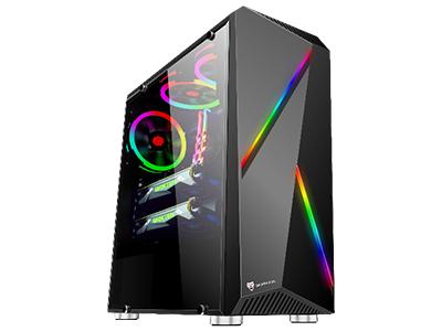竹光黑  面板自带2条RGB灯条,侧板钢化玻璃;长378*宽180*高425mm